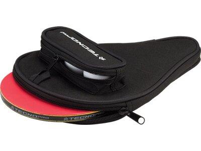 TECNOPRO Tischtennisschläger-Hülle mit Ballfach Schwarz