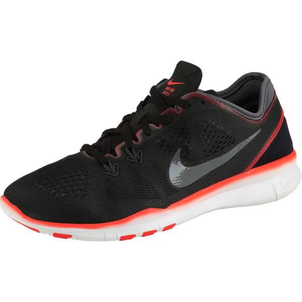 finest selection 8182c 9cd28 NIKE Damen Workoutschuhe Nike Free 5.0 TR Fit 5 Schwarz Grau Neonrot