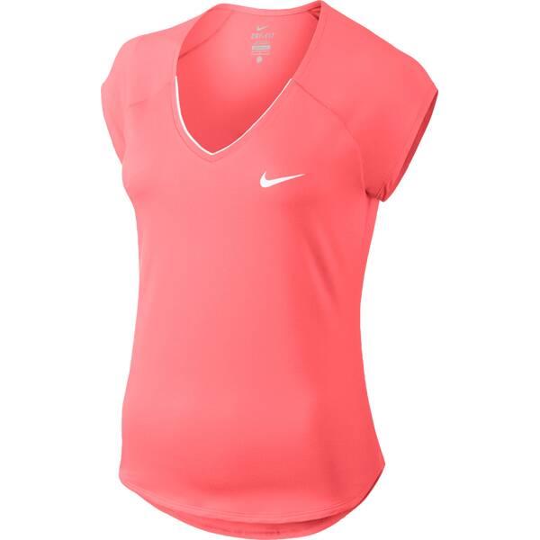 NIKE Damen Tennisshirt Pure Kurzarm | Sportbekleidung > Sportshirts > Tennisshirts | Pink - Weiß | NIKE