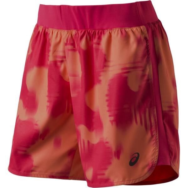 Hosen - ASICS Damen Laufshorts FuzeX 5,5 Print Short › Orange  - Onlineshop Intersport