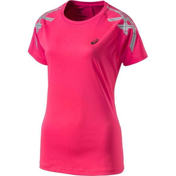ASICS Damen Laufshirt Stripe S/S Rosa