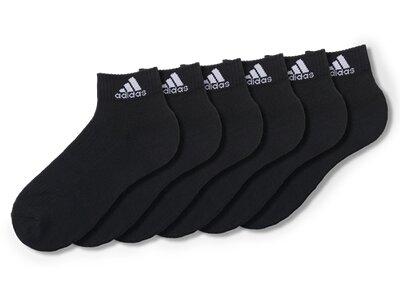 ADIDAS Herren 3-Streifen Knöchelsocken, 6 Paar Schwarz