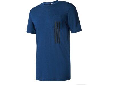 ADIDAS Herren T-Shirt ID 3-Stripes Pocket Blau