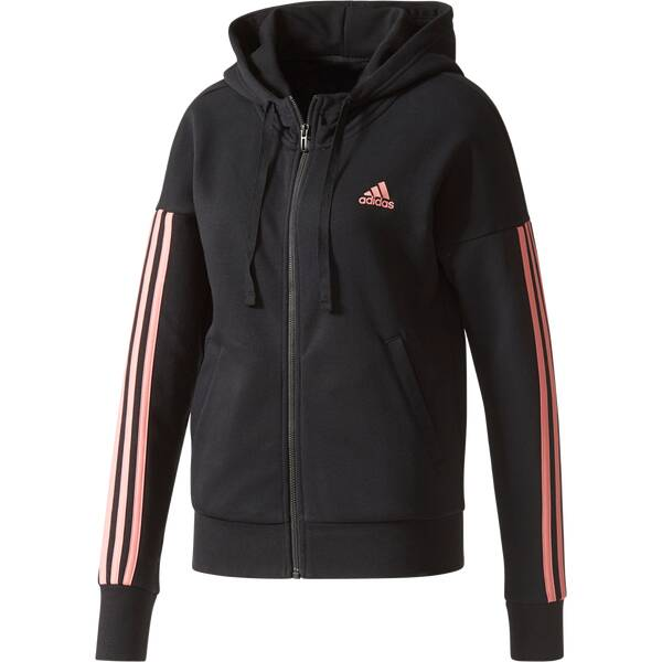 ADIDAS Damen Kapuzensweat Essentials 3 Stripes Schwarz