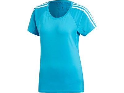 ADIDAS Damen T-Shirt 3-Streifen Blau