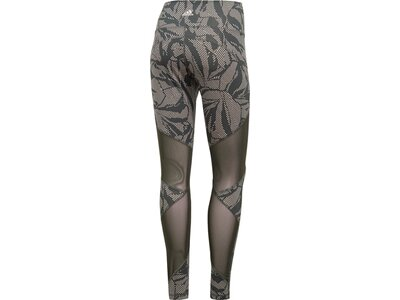 ADIDAS Damen Believe This High-Rise Linear Floral Mesh Lange Tight Grau