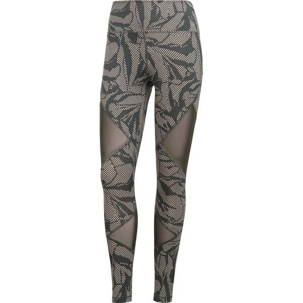 ADIDAS Damen Believe This High-Rise Linear Floral Mesh Lange Tight