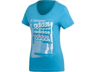 ADIDAS Damen T-Shirt Linear Blau