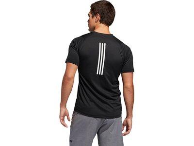 ADIDAS Herren T-Shirt FreeLift Sport Fitted 3-Streifen Schwarz