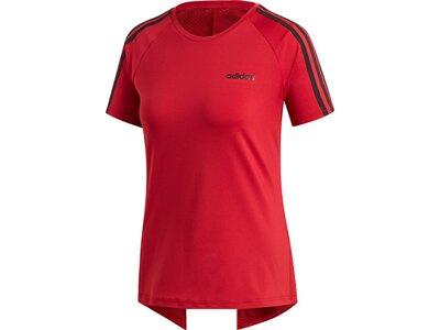 ADIDAS Damen T-Shirt Design 2 Move 3-Streifen Rot