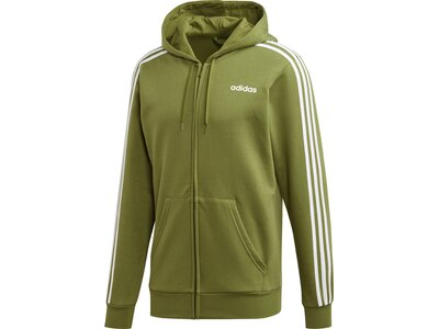 ADIDAS Herren Essentials 3-Streifen Fleece Kapuzenjacke Grün