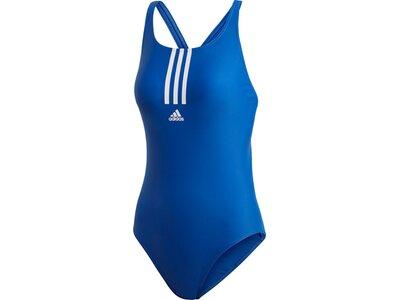 adidas Damen 3-Streifen Primeblue Schwimmen Sport Badeanzug Blau
