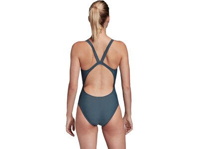 adidas Damen 3-Streifen Primeblue Schwimmen Sport Badeanzug Grau