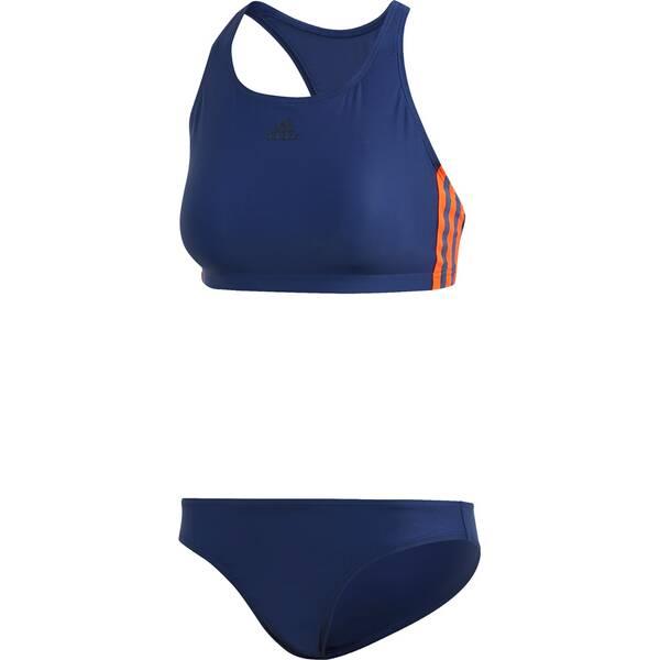 Bademode - adidas Damen 3 Streifen Bikini Schwimmen Sport Badeanzug › Blau  - Onlineshop Intersport