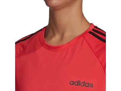 adidas Damen Design 2 Move 3-Streifen T-Shirt Rot
