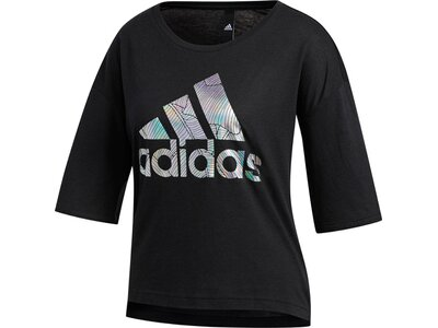 adidas Damen Logo Tee Athletics Sportmode Print T-Shirt Schwarz