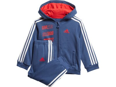 adidas Kinder Hooded Fleece Jogginganzug Blau