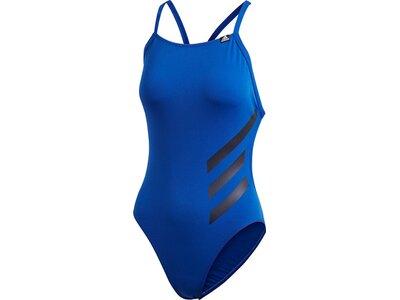 adidas Damen Pro Big 3-Streifen Badeanzug Blau