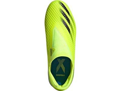 adidas Kinder X Ghosted.3 Laceless FG Fußballschuh Grün