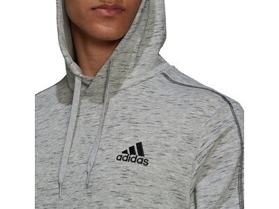 adidas Herren Essentials Mélange Embroidered Small Logo Hoodie Silber