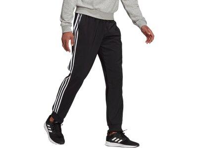 adidas Herren AEROREADY Essentials Tapered Cuff Woven 3-Streifen Hose Schwarz