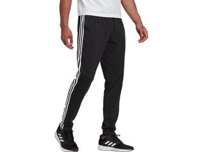 adidas Herren Essentials Single Jersey Tapered Open Hem 3-Streifen Hose Schwarz