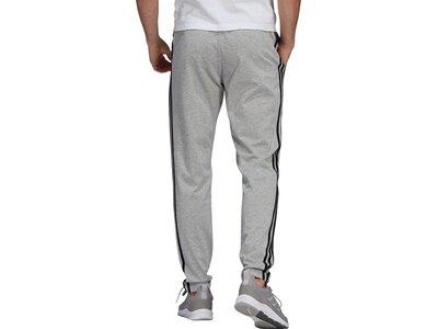 adidas Herren Essentials Single Jersey Tapered Open Hem 3-Streifen Hose Grau