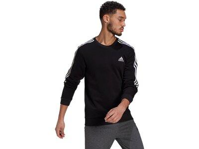 adidas Herren Essentials Fleece Cut 3-Streifen Sweatshirt Schwarz