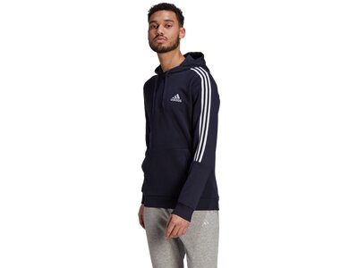 adidas Herren Essentials Fleece Cut 3-Streifen Hoodie Schwarz