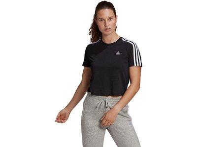 adidas Damen Essentials Loose 3-Streifen Cropped T-Shirt Schwarz