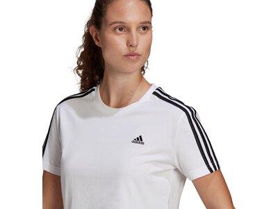 adidas Damen Essentials Loose 3-Streifen Cropped T-Shirt Weiß