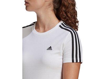 adidas Damen LOUNGEWEAR Essentials Slim 3-Streifen T-Shirt Weiß