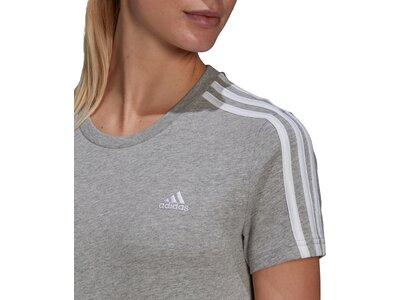 adidas Damen LOUNGEWEAR Essentials Slim 3-Streifen T-Shirt Grau