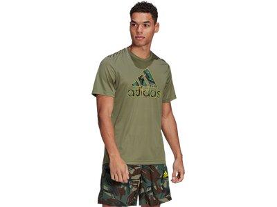 adidas Herren adidas Designed 2 Move Camouflage Graphic AEROREADY T-Shirt Braun