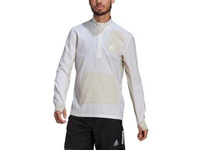 adidas Herren Primeblue Half-Zip Running Oberteil Weiß
