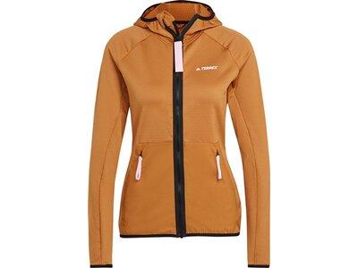 adidas Damen TERREX Tech Lite Hooded Hiking Fleecejacke Braun