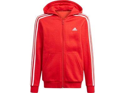adidas Kinder Essentials 3-Streifen Kapuzenjacke Rot