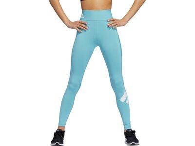 adidas Damen Techfit Logo lange Tight Blau