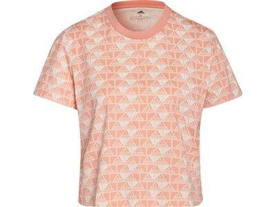 adidas Damen Brand Love Cropped T-Shirt Rot