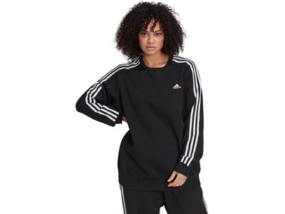 adidas Damen Essentials 3-Streifen Fleece Sweatshirt – Große Größen Schwarz
