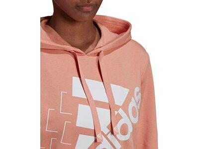 adidas Damen Brand Love Slanted Logo Relaxed Hoodie Braun