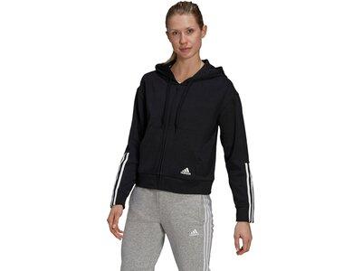 adidas Damen Essentials Loose-Cut 3-Streifen Kapuzenjacke Schwarz