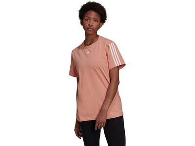 adidas Damen Essentials Boyfriend 3-Streifen T-Shirt Braun