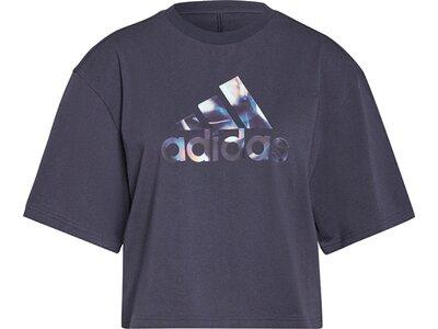adidas Damen You for You Cropped Logo T-Shirt Grau