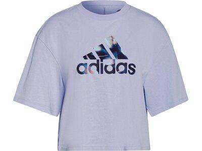 adidas Damen You for You Cropped Logo T-Shirt Blau