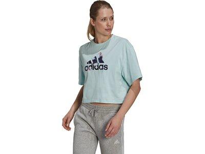 adidas Damen You for You Cropped Logo T-Shirt Silber