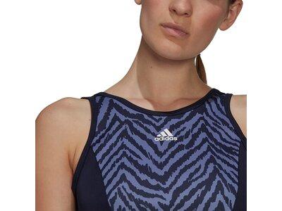 adidas Damen AEROREADY Designed to Move Zebra-Print Crop-Top Schwarz