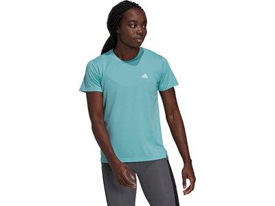 adidas Damen AEROREADY Designed 2 Move Sport 3-Streifen T-Shirt Blau