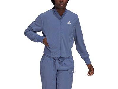 adidas Damen AEROREADY Designed to Move Print Cropped Trainingsjacke Blau