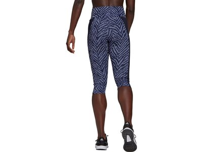 adidas Damen Designed to Move High-Rise Sport Zebra Capri Tight Blau